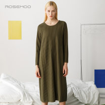 Dress Spring of 2019 Black army green willow yellow S M L XL longuette Long sleeves commute Crew neck Loose waist Solid color Socket 25-29 years old Yung Tzu wood Korean version RHZ1LC019A 51% (inclusive) - 70% (inclusive) polyester fiber Polyester 60.4% cotton 39.6%
