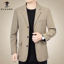 man 's suit P03-89352 khaki, p03-89352 Navy Plover Business gentleman routine 170/M,175/L,180/XL,185/2XL,190/3XL standard Triple single breasted go to work No slits middle age Long sleeves spring Business Casual Casual clothes Flat lapel Round hem Solid color Regular collar (collar width 7-9cm)