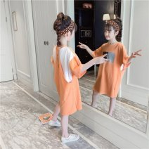 Quick drying T-shirt female Orange Other / other Under 50 yuan 110,120,130,140,150,160 Short sleeve cotton