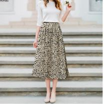 skirt Summer of 2019 Average size White, black Mid length dress street Natural waist A-line skirt Decor Type A 18-24 years old 30% and below Chiffon Other / other fold Europe and America