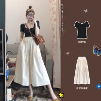 Women's large Summer 2021 S M L XL skirt Two piece set commute Self cultivation moderate Socket Short sleeve Solid color Korean version square neck have cash less than that is registered in the accounts Three dimensional cutting routine Sticking core rabbit 18-24 years old Medium length Other 100%