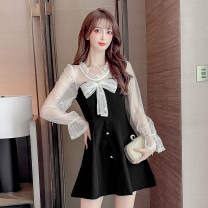 Dress Spring 2021 black S M L XL 2XL Mid length dress singleton  Long sleeves commute Crew neck High waist Solid color Socket A-line skirt pagoda sleeve Hanging neck style 18-24 years old Type A LYNQ Korean version LYNQ52101372 More than 95% other Other 100%