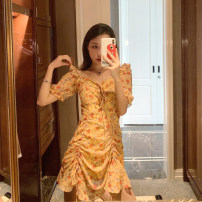 Dress Summer 2020 Little yellow flower dress S M L XL Mid length dress singleton  Short sleeve commute V-neck High waist Broken flowers zipper A-line skirt Lotus leaf sleeve Others 18-24 years old Type A Love Dinon Korean version Ruffle More than 95% other other Exclusive payment of tmall