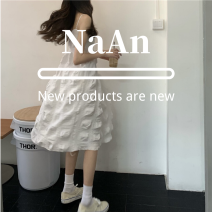 Dress Spring 2021 White, black, pure white S,M,L,XL Short skirt singleton  Sleeveless commute Crew neck High waist Solid color Socket A-line skirt routine camisole 18-24 years old Type A Korean version brocade polyester fiber