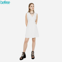 Dress Spring 2021 White 1, olive green 13, dark blue 47, black 50, beige 62, red 70, pink 90 XS,S,M,L Short skirt singleton  Sleeveless commute V-neck middle-waisted Solid color other Princess Dress other Others 30-34 years old Type A befree lady Frenulum 51% (inclusive) - 70% (inclusive) Poplin