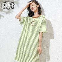 Nightdress Zhiyun Simplicity Short sleeve Middle-skirt Leisure home stripe summer youth Crew neck cotton printing 41% (inclusive) - 60% (inclusive) Modal fabric Y2101# Summer 2021 Cotton 47.5% viscose fiber (viscose fiber) 47.5% polyurethane elastic fiber (spandex) 5%