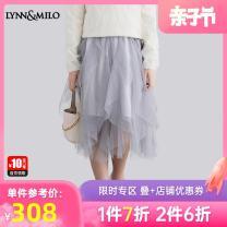 skirt 110cm 120cm 130cm 140cm 150cm 160cm light gray Lynn & Milo / limmello female All seasons skirt princess Solid color Fluffy skirt nylon Class B Spring 2021