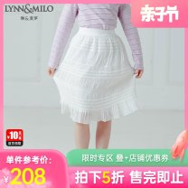 skirt 110cm 120cm 130cm 140cm 150cm 160cm white female Polyester 100% spring and autumn skirt fresh Solid color A-line skirt polyester fiber Class C Autumn of 2019