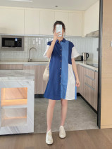 Dress y'fmei Color matching M,L,XL,XXL Korean version Short sleeve Medium length summer Lapel Solid color Pure cotton (95% and above)