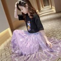skirt 120cm,130cm,140cm,150cm,160cm,170cm Other / other female Other 100% summer skirt princess Solid color A-line skirt cotton Class B
