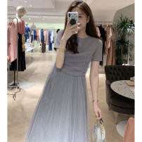 Women's large Summer 2021 Grey black S M L XL singleton  Sweet Short sleeve Crew neck routine DH889995411220001410788 Diao Huan 18-24 years old Gauze longuette Other 100% Pure e-commerce (online only) Princess Dress solar system