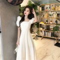 Women's large Summer 2021 white S M L XL singleton  commute Short sleeve Solid color Korean version square neck puff sleeve DH4450366200140 Diao Huan 18-24 years old longuette Polyester 80% other 20% Pure e-commerce (online only)