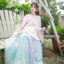 Hanfu 96% and above White top pink top blue skirt XS (spot) s (spot) m (spot) l (spot) XL (spot) polyester fiber