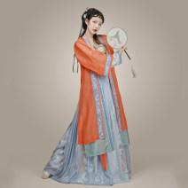 Hanfu 81% (inclusive) - 90% (inclusive) Orange (outer ring) brick red (outer ring) blue (inner ring) gold (sling) light blue (skirt) XS (spot) s (spot) m (spot) l (spot) XL (spot) polyester fiber