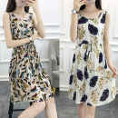 Dress Summer 2020 M L XL XXL 3XL Middle-skirt singleton  Sleeveless commute Crew neck Elastic waist Broken flowers Socket A-line skirt 18-24 years old Type H Glass dream Korean version Bow fold tie print More than 95% other Other 100% Pure e-commerce (online only)
