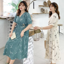 Women's large Summer 2020 Apricot blue lake blue red Large L Large XL Large 2XL large 3XL large 4XL Dress singleton  commute Self cultivation moderate Socket Short sleeve Korean version V-neck polyester 20BG0893 Guisang 25-29 years old 71% (inclusive) - 80% (inclusive) Other 100%