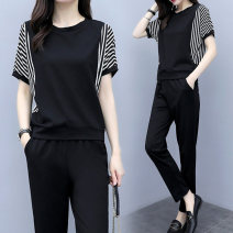 Women's large Spring 2020 Black picture color Short Sleeve Black Large L Large XL Large 2XL large 3XL large 4XL large 5XL Other oversize styles Two piece set commute easy thin Socket Short sleeve Korean version Crew neck Chloroprene Collage 20BG0509 Guisang 25-29 years old Other 100% trousers