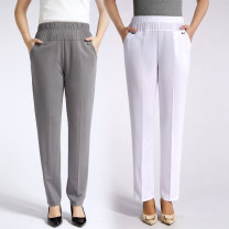 Middle aged and old women's wear Summer 2021 Black blue gray red Beige white XL (waist 2.0-2.2 feet) 2XL (waist 2.2-2.4 feet) 3XL (waist 2.4-2.6 feet) 4XL (waist 2.6-2.8 feet) 5XL (waist 2.8-3.1 feet) 6xl (waist 3.1-3.4 feet) leisure time trousers Straight cylinder singleton  Solid color thin XM1228