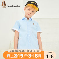 shirt Hush Puppies / Hush Puppies male 105cm 110cm 120cm 130cm 140cm 150cm 160cm 170cm summer Short sleeve college Solid color cotton Lapel and pointed collar Cotton 100% Class B