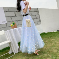skirt Summer 2021 80cm 90cm 100cm Sky blue light pink Mid length dress Versatile High waist A-line skirt Broken flowers Type A 18-24 years old More than 95% Di lip polyester fiber Little daisy with embroidered gauze net Polyester 100% Pure e-commerce (online only)