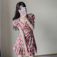 Women's large Summer 2020 Pink flowers S M L XL XXL Dress singleton  commute Self cultivation moderate Socket Short sleeve Broken flowers Korean version V-neck have cash less than that is registered in the accounts other puff sleeve JXD-LYQ6275 Seven color imperial concubine 18-24 years old