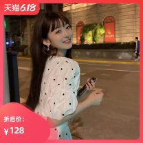 Women's large Summer 2020 white S M L XL singleton  commute Short sleeve Dot Korean version V-neck puff sleeve C6N1078 Seven color imperial concubine 18-24 years old 71% (inclusive) - 80% (inclusive) Short skirt Polyester 80% other 20% Exclusive payment of tmall Cake skirt