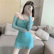 shirt Picture color S M Summer 2021 other 96% and above Long sleeves commute Medium length One word collar Socket routine Solid color 18-24 years old High waist type Han Xi'er Korean version 5206# Other 100% Pure e-commerce (online only) Chiffon