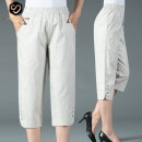 Middle aged and old women's wear Summer 2020 Hemp ash XL 2XL 3XL 4XL 5XL 6XL 7XL 8XL 9XL leisure time trousers easy singleton  Solid color 40-49 years old thin XP636 Xin pinrong Button polyester fiber Polyethylene terephthalate (polyester) 65% cotton 35% 51% (inclusive) - 70% (inclusive) 7 / 9 pants