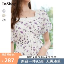 Dress Summer 2021 Lilac light yellow flower S M L Mid length dress singleton  Short sleeve commute square neck Broken flowers Socket A-line skirt puff sleeve 18-24 years old Type A INSHOP lady Bandage 0521B54085 More than 95% polyester fiber Polyester 100%