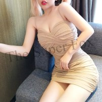 Dress Summer 2020 Apricot S,M,L Miniskirt singleton  Sleeveless One word collar High waist Solid color Socket One pace skirt camisole Other / other Hollowed out, open back, pleated, zipper