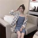 Fashion suit Spring 2021 S,M,L,XL Light blue (suspender skirt), plaid coat polyester fiber