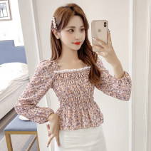 Lace / Chiffon Spring 2021 White flowers red pollen flowers S M L XL Long sleeves commute Socket singleton  easy have cash less than that is registered in the accounts square neck Decor routine 25-29 years old Zhi Hao ZH5211378 Pleated and stitched Auricularia auricula Korean version Other 100%