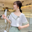 Lace / Chiffon Summer 2020 white S M L XL 2XL Short sleeve commute Socket singleton  easy Regular Half open collar Solid color routine 25-29 years old Zhi Hao ZH5210059 Three dimensional decorative nail beads with pleated stitching thread Korean version Other 100%