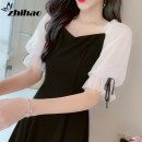 Dress Summer 2020 black S M L XL Mid length dress singleton  Short sleeve commute V-neck High waist Solid color Socket A-line skirt routine Others 25-29 years old Type A Zhi Hao Korean version Three dimensional decoration of Auricularia auricula with bow and lotus leaf More than 95% other Other 100%