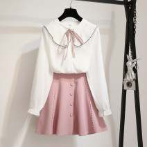 Dress Autumn 2020 S M L XL Short skirt Two piece set Long sleeves commute Doll Collar High waist Solid color Single breasted A-line skirt routine Others 18-24 years old Type A vanguard manifestos  Korean version Bow tie stitched zipper 71% (inclusive) - 80% (inclusive) cotton Cotton 75% polyester 25%