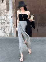skirt Summer 2020 S M L XL 2XL Black grey Mid length dress commute High waist A-line skirt Solid color Type A 18-24 years old More than 95% Yao Tiao other Bandage Korean version Other 100% Pure e-commerce (online only)