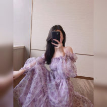 skirt Summer 2021 S M L Purple pink skirt (gauze) blue skirt (gauze) purple top (gauze) blue top (gauze) purple pink skirt (Organza) blue skirt (Organza) purple top (Organza) blue top (Organza) longuette commute High waist A-line skirt Broken flowers Type A 18-24 years old More than 95% other other