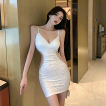 Dress Summer 2021 white S M L Short skirt singleton  Sleeveless commute V-neck High waist Solid color zipper One pace skirt routine camisole 18-24 years old Type H Touwen Korean version Open back stitching bead gauze mesh zipper lace DA8519 More than 95% Lace polyester fiber