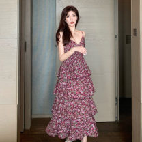 Middle aged and old women's wear Summer 2020 gules S M L XL XXL commute singleton  Broken flowers V-neck CWQ1311 Chuwan other Other 100% 96% and above Pure e-commerce (online only) longuette Cake skirt Korean version