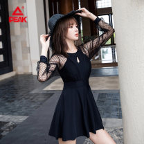 one piece  Peak / peak M L XL 2XL Black and white Skirt one piece With chest pad without steel support Spandex others YS11345 Spring 2021 yes female Long sleeves Casual swimsuit backless
