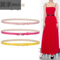 Belt / belt / chain Double skin leather White pink rose yellow black female belt Sweet Single loop Youth Smooth button bow Glossy surface 1.5cm alloy Bare body inlaid hollow rivet bow frosted candy color Ji Cheng YZ490 90cm 95cm 100cm Spring 2020 no