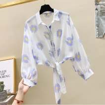 shirt Blue Orange Black S M L XL 2XL Summer 2020 other 96% and above Nine point sleeve Versatile Short style (40cm < length ≤ 50cm) Polo collar Single row multi button bishop sleeve Broken flowers 18-24 years old Straight cylinder Sweet Poetry nrjE326-407 Lace up printing New polyester fiber 100%