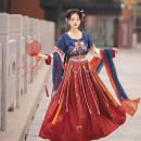 Hanfu 96% and above Summer 2020 Light blue half arm + yellow long sleeve + light yellow Ru skirt + light blue silk drape, dark blue half arm + Red Long Sleeve + Red Ru skirt + dark blue silk drape S M L polyester fiber