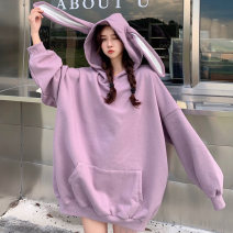 Women's large Autumn 2020 Purple (thin) white (thin) Purple (plush) white (plush) M L XL Sweater / sweater singleton  commute easy moderate Socket Long sleeves Solid color Korean version Hood routine cotton Three dimensional cutting routine BM817 Bimu 18-24 years old 30% and below Other 100%