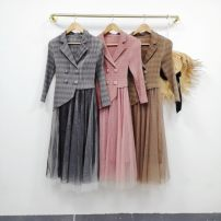 Dress Autumn 2020 Pink, grey, brown Average size longuette Two piece set Long sleeves commute Crew neck middle-waisted lattice Single breasted A-line skirt routine 25-29 years old Type A Pocket, stitching, lace up wool