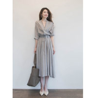 Women's large Summer 2021 grey S M L XL Dress singleton  commute moderate Socket three quarter sleeve Retro Polo collar routine XDJ4162 Xiang Daijie 18-24 years old longuette Polyester 70% other 30% Pure e-commerce (online only) other