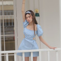 Dress Spring 2021 wathet S, M Short skirt Short sleeve square neck High waist Solid color A-line skirt puff sleeve 18-24 years old Type A Cut out, lace up 51% (inclusive) - 70% (inclusive) other cotton