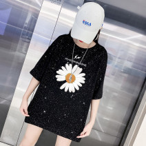 T-shirt S M L XL 2XL Summer 2020 Short sleeve Crew neck easy Medium length routine commute polyester fiber 51% (inclusive) - 70% (inclusive) 18-24 years old Korean version youth letter Serena Sequins Polyester 65% cotton 35% Pure e-commerce (online only)