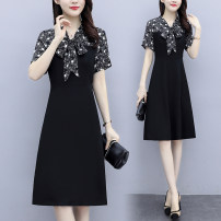 Women's large Summer 2021 black Large XL Large XXL large XXXL large XXXXL large Dress singleton  commute Straight cylinder moderate Socket Short sleeve Decor Korean version V-neck routine fold routine YRM2020T138 To be obsessed with others 18-24 years old Asymmetry 96% and above Middle-skirt other