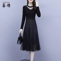 Dress Autumn 2020 black 3XL M L XL 2XL 4XL Mid length dress singleton  Long sleeves commute V-neck High waist other Socket other routine Others 35-39 years old Type A Xiqian Korean version Gauze 6213#hwy More than 95% other Other 100% Pure e-commerce (online only)